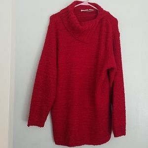Fashion Bug red turtleneck tunic sweater